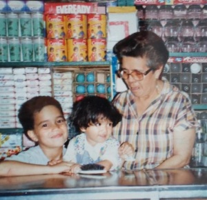 My Grandma, my lil sister and myself